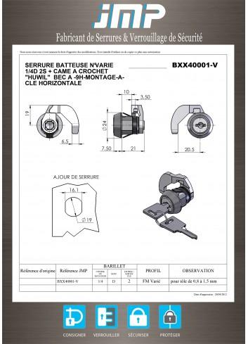 Serrure batteuse BXX40001 - Plan Technique