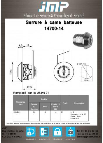 Serrure à came batteuse 14700-14 - Plan Technique