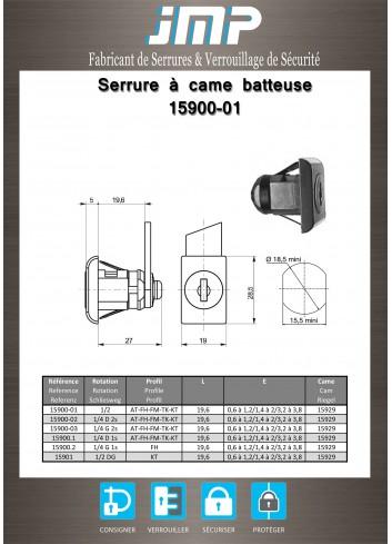 Serrure à came batteuse 15900-01 - Plan Technique
