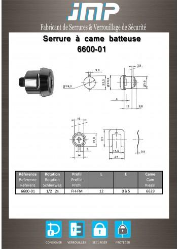 Serrure à came batteuse 6600-01 - Plan Technique
