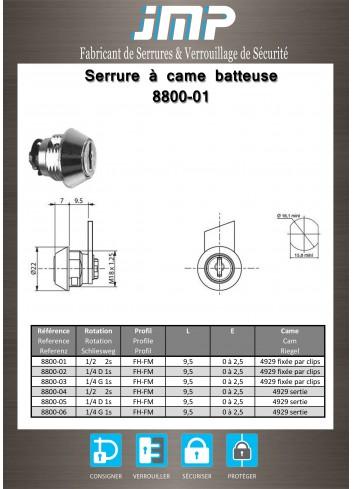 Serrure à came batteuse 8800-01 - Plan Technique