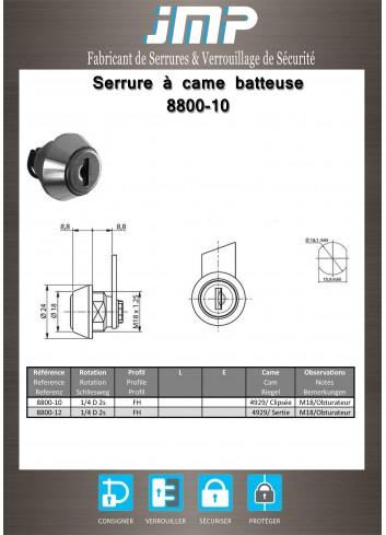 Serrure à came batteuse 8800-10 - Plan Technique