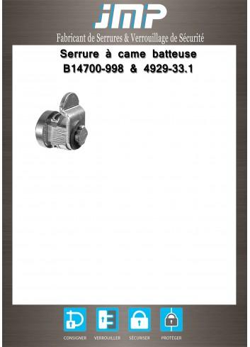 Serrure à came batteuse B14700-998 & 4929-33 - Plan Technique