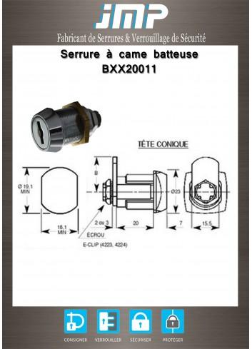 Serrure à came batteuse BXX20011 lg20mm - Plan Technique