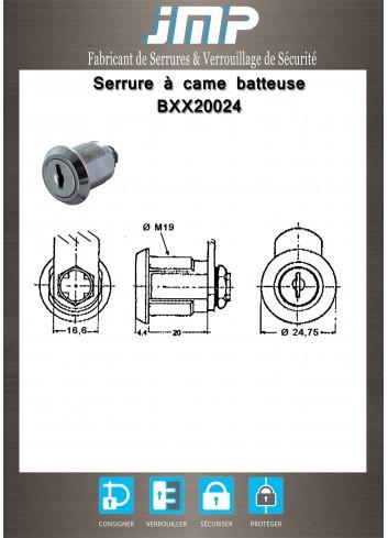 Serrure à came batteuse BXX20024 lg20mm - Plan Technique