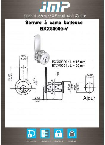 Serrure à came batteuse BXX50000-V - Plan Technique