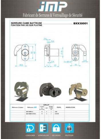 Serrure à came batteuse pour armoire Strafor BXX30001 - Plan Technique