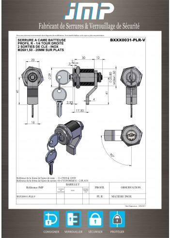 Serrure à came batteuse BXXX0031-PLR tout INOX  - Plan Technique