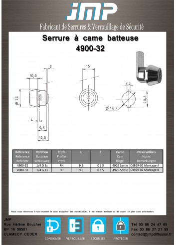 Serrure à came batteuse 4900-32 à rappel automatique - Plan Technique