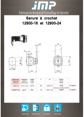 Serrure à came batteuse 12900-24 - Plan Technique