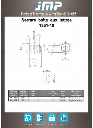 Serrure à came batteuse 1351-10 - Plan Technique