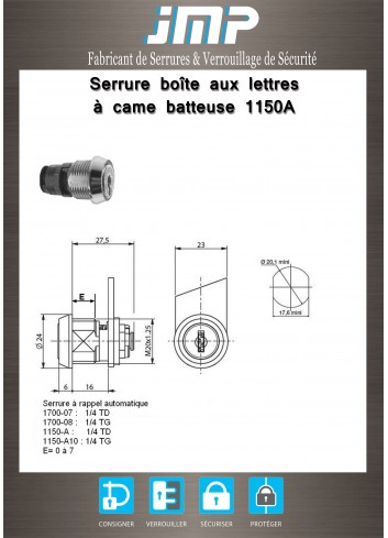 Serrure à came batteuse 1150A rappel automatique - Plan Technique