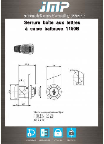 Serrure à came batteuse 1150B rappel automatique - Plan Technique
