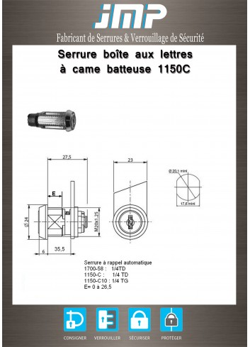 Serrure à came batteuse 1150C rappel automatique - Plan Technique