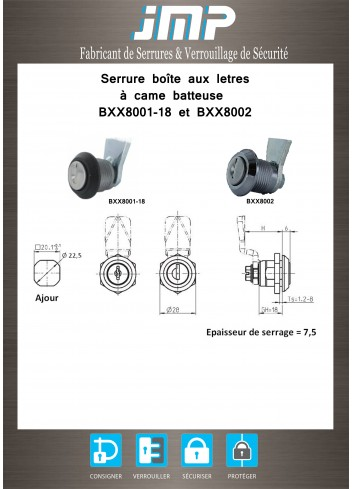 Serrure à came batteuse BXX8001-18 - Plan Technique