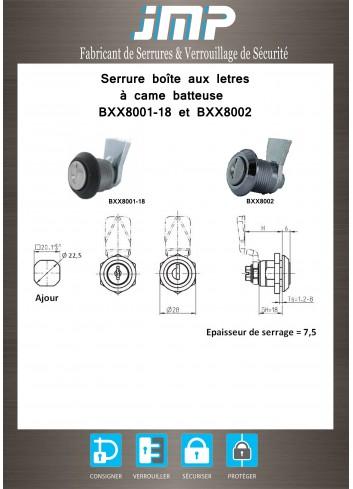 Serrure à came batteuse BXX8002 - Plan Technique