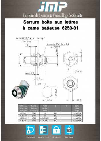 Serrure à came batteuse 6250-01 carré de 8 - Plan Technique