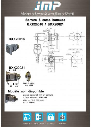 Serrure à came batteuse BXX20016 CIBOX - Plan Technique