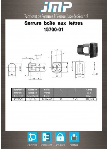 Serrure à came batteuse 15700-01 - Plan Technique