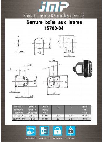 Serrure à came batteuse 15700-04 - Plan Technique