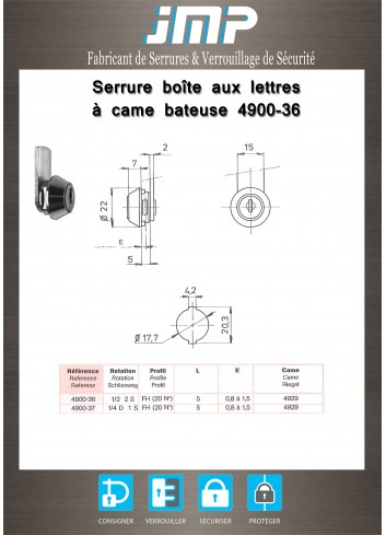 Serrure à came batteuse 4900-36 - Plan Technique