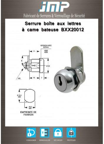 Serrure à came batteuse - BXX20012 lg 16 mm - Plan Technique
