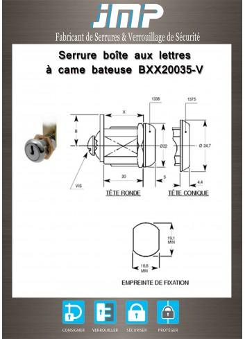 Serrure à came batteuse BXX20035-V n° gamme électrique - Plan Technique
