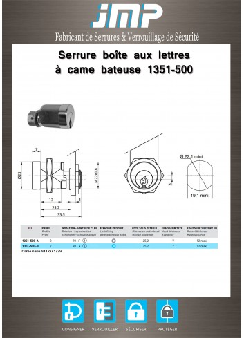 Serrure à came batteuse 1351-500 à pistons - Plan Technique