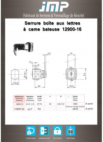 Serrure à came batteuse 12900-16 pour armoire Marcadet - Plan Technique