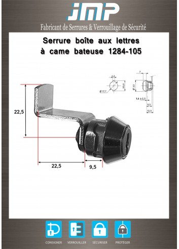 Serrure à came batteuse 1284-105 - Plan Technique