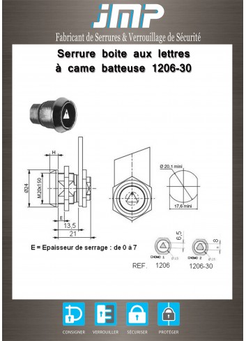 Serrure à came batteuse 1206-30 triangle Cnomo 2 - Plan Technique