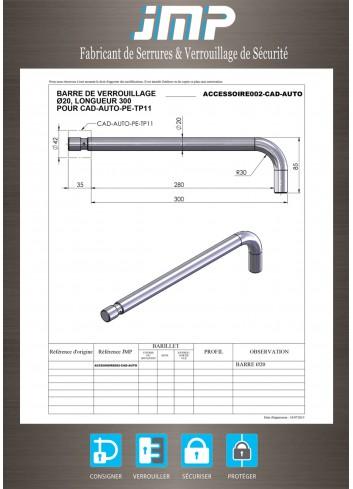 Barre de verrouillage ACCESSOIRE002-CAD-AUTO avec gorge pour cadenas cylindrique - Plan Technique