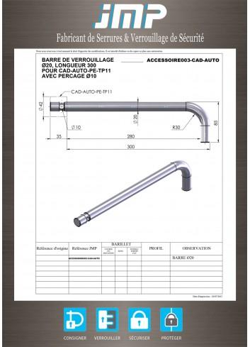 Barre de verrouillage ACCESSOIRE003-CAD-AUTO avec trou de passage anse de cadenas - Plan Technique