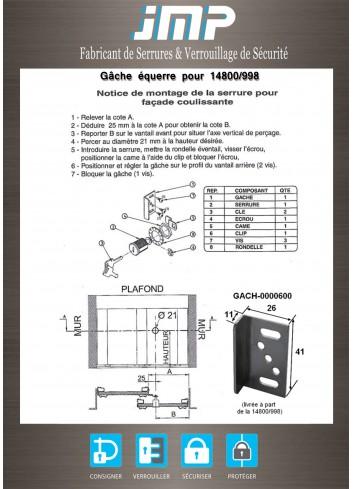 Gâche équerre pour 14800/998 - Plan Technique