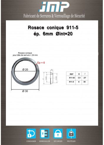 Rosace conique 911-5 ép 6 mm Ø int20 - Plan Technique