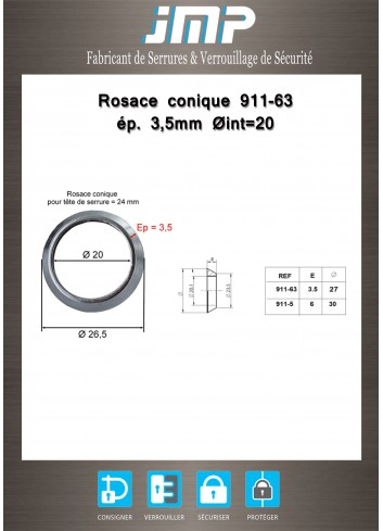 Rosace conique 911-63 ép 3,5 mm Ø int20 - Plan Technique