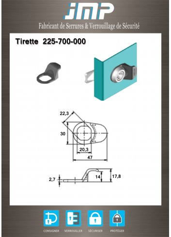 Tirette 225-700-000 - Plan Technique