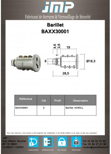 Barillet serrure BAXX30001 extractible - Plan Technique