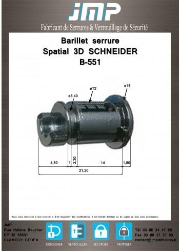 Barillet serrure B-551 pour Spatial 3D Schneider profil E - Plan Technique