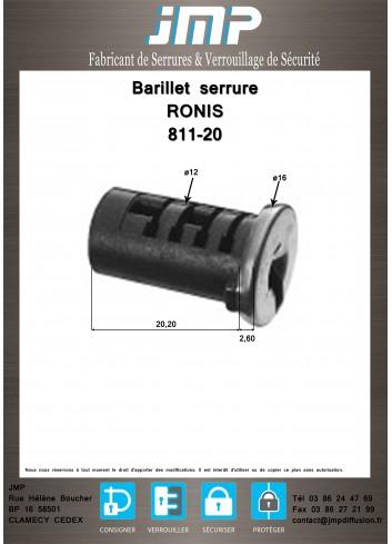 Barillet serrure Ronis 811-20 - Plan Technique