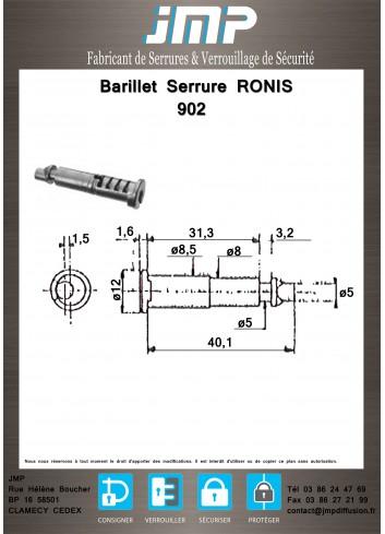 Barillet serrure Ronis 902 - Plan Technique