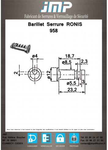 Barillet serrure Ronis 958 - Plan Technique