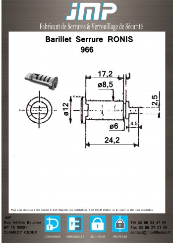 Barillet serrure Ronis 966 - Plan Technique