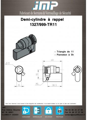 Demi-Cylindre Européen 1327/999-TR11 panneton à 5H - Plan Technique