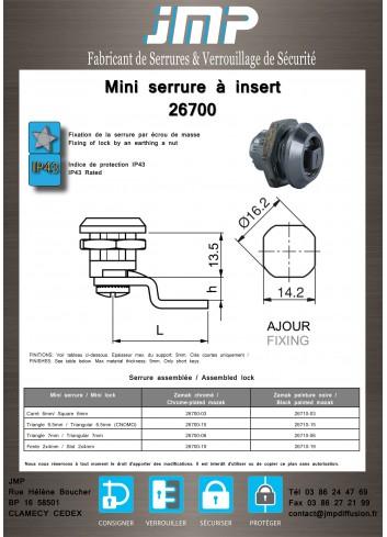 Mini serrure à insert 26700 Gamme électrique - Plan Technique