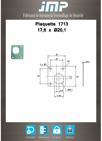 Plaquette 17,6 x diamètre 20,1 - Plan Technique
