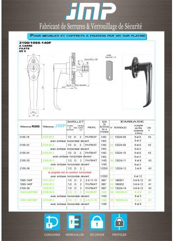 Poignée béquille 1095-140F - Plan Technique