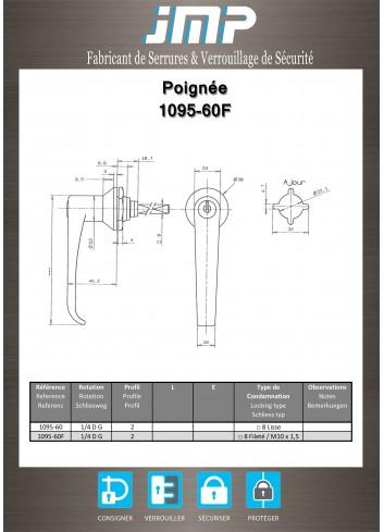 Poignée béquille 1095-60F - Plan Technique