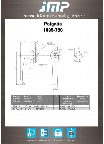 Poignée béquille 1095-750 - Plan Technique