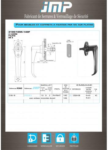 Poignée béquille 2100-18 - Plan Technique
